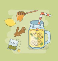 honey and orange juice jar with straw vector image