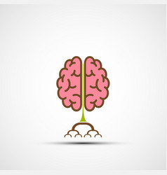 icon human brain like a tree with roots vector image