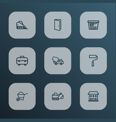 industry icons line style set with carry cart vector image