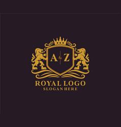 Initial az letter lion royal luxury logo template vector