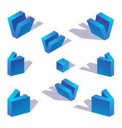 isometric english blue letter v with shadow vector image