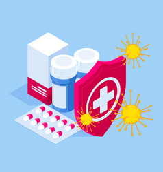 isometric pills tablets and medicines in plastic vector image