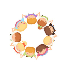 Kids standing in circle holding hands cute vector
