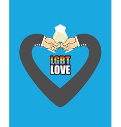 LGBT love Mens hands form Heart is symbol of love vector