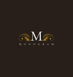 M letter floral elegant graceful ornament logo vector