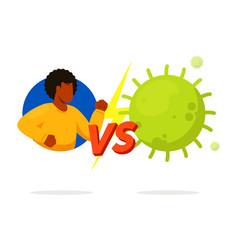 Man fighting vs virus isolated on white background vector