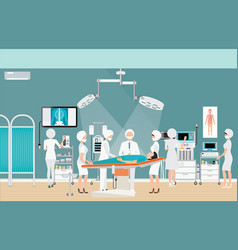 Medical hospital surgery operation room interior vector