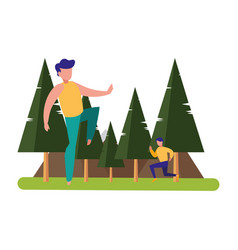 men practicing exercises natural outdoor vector image