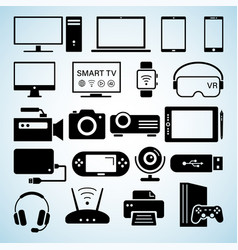 modern digital devices black icons isolated set vector image