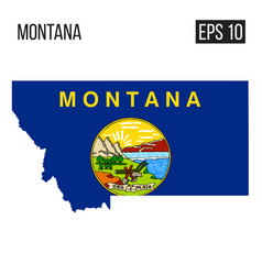 montana map border with flag eps10 vector image