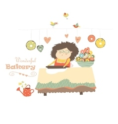 Mother baking donuts vector