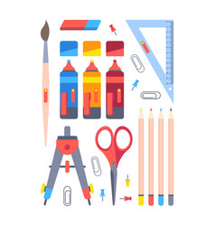 office stationery tools set equipment work and vector image