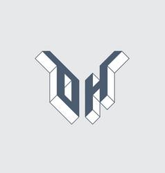 Oh - 2-letter code isometric 3d font for design 0 vector