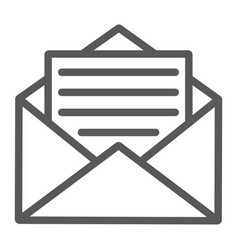 open mail line icon envelope and letter email vector image