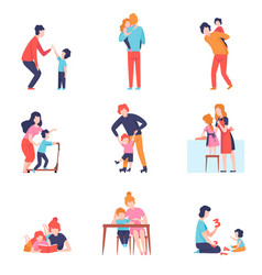 parents having good time with kids set mother and vector image