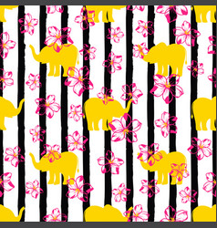pattern with yellow elephants vector image