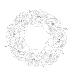 Peony flower wreath outline vector