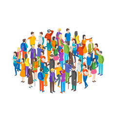 People characters crowd circle isometric view vector