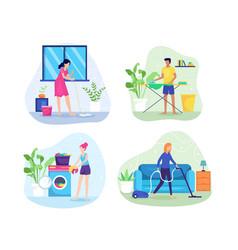 people do housework vector image