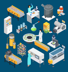 pharmaceutical production isometric icons vector image