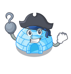Pirate character cartoon ice house in snowfield vector