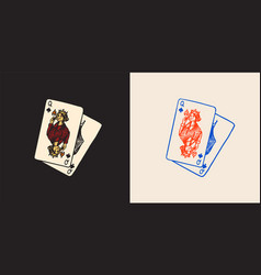 playing cards in vintage doodle style spades vector image