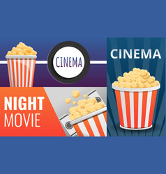 popcorn cinema banner set cartoon style vector image