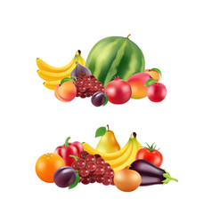 realistic fruits and berries piles set vector image