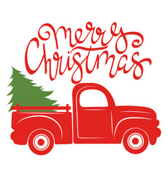 Red pickup with christmas tree traditional vector