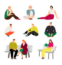 Resting people sitting and relaxing casual men vector