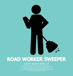Road worker sweeper vector