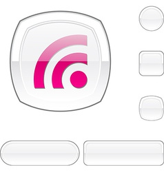 Rss white button vector image