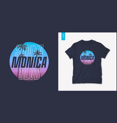 santa monica california graphic t-shirt design vector image