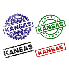 Scratched textured kansas seal stamps vector