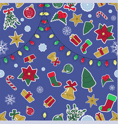 seamless lined christmas pattern on blue bg vector image