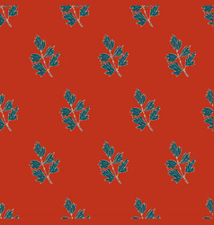 seamless pattern with herbs plants vector image