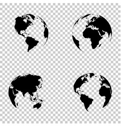 set 3d earth globe on isolated background vector image