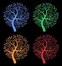 set colorful season tree icons vector image