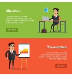 Set of Business Web Banners in Flat Design vector