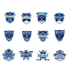 set of ice hockey badges stickers emblems vector image