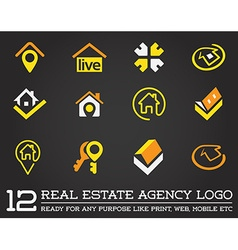 Set of template logo for real estate agency vector