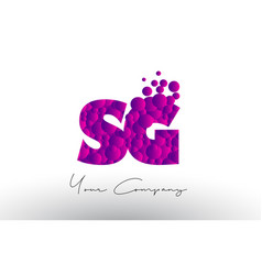 Sg s g dots letter logo with purple bubbles vector