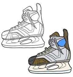 Sketch of hockey skates Skates to play hockey on vector