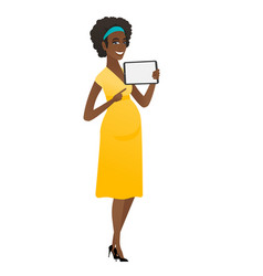 Smiling pregnant woman holding tablet computer vector