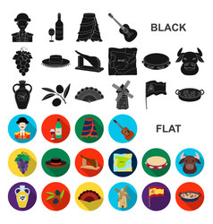 Spain country flat icons in set collection for vector