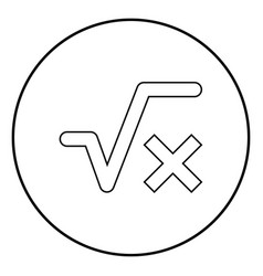 Square root of x axis icon black color simple vector