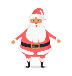 Standing santa front view on white background vector