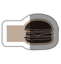 sticker monochrome emblem with hamburger vector image