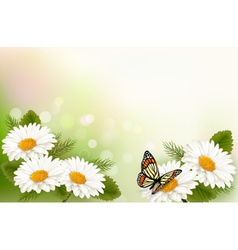 Summer background with yellow beautiful flowers vector image