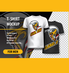 T-shirt mockup with gladiator side head fully vector